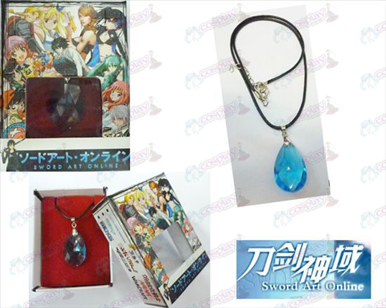 Sword Art Online Accessoires Yui boxed blauw kristal hart ketting