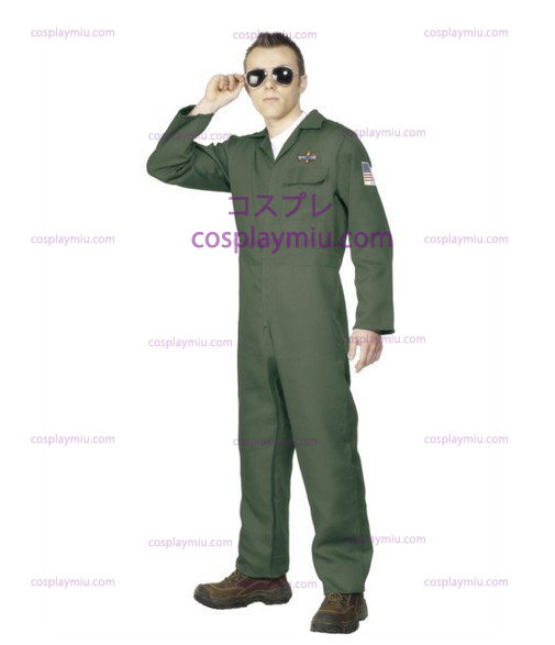 Volwassen Mens Aviator Topgun Pilot Fancy Dress Costume