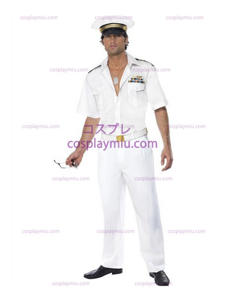 Mens Top Gun Kapitein Luchtmacht Fancy Dress Costume