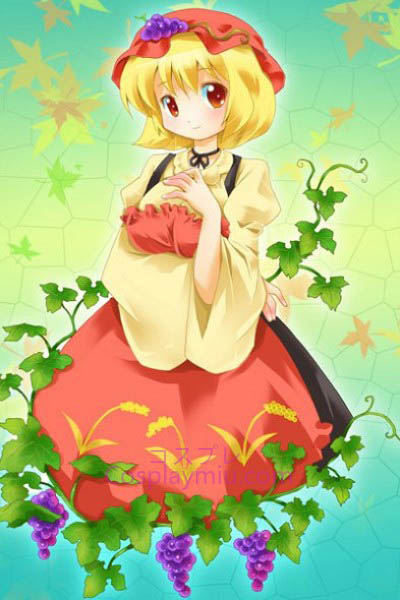 Touhou Project Aki Minoriko Leuke Kort Blond Bottom Cosplay Pruik